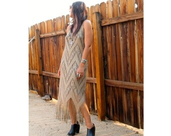 Gypsy Eyes LIMITED GOLD DUST Maxi Dress with Fringe