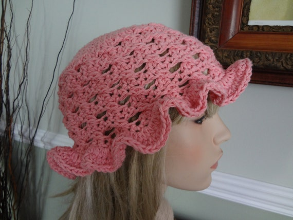 Crochet Hair For Adults : Pink Crochet Adult Cotton Sun Hat. Great for Beach, Pool. Wet Hair ...