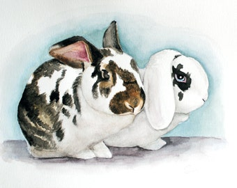 """PAIR O' BUNS - 9"""" x 12"""" Watercolor Portrait of TWO rabbits"""