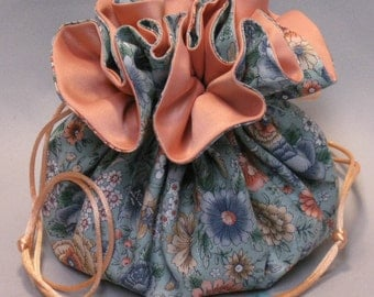 Floral Garden and Butterflies--Large Jewelry Travel Tote--8 Pocket Drawstring Organizer Pouch
