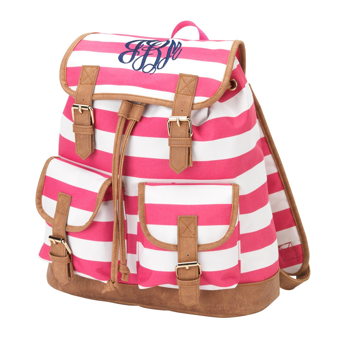 Monogrammed Campus Backpack in Hot Pink and White Striped