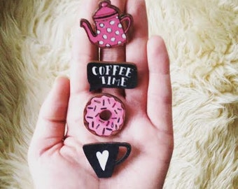 Coffee Date Wooden Pins