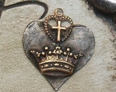 Soldered Crown and Cross Pendant Bohemian Raw Brass Crown Metalwork Mixed Metal Jewelry Supplies Scrapbooking supply Altered Art Supply