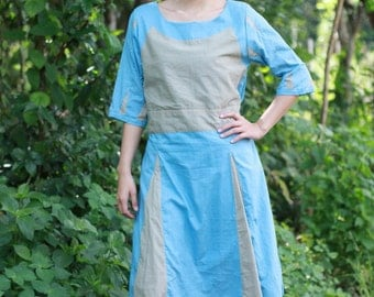 SALE 25 USD--N095--Cotton dress with cute patchwork .
