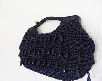 60s navy BEADED straw CLUTCH purse