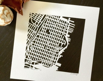 hoboken, jersey city, or morristown hand cut map, 10x10