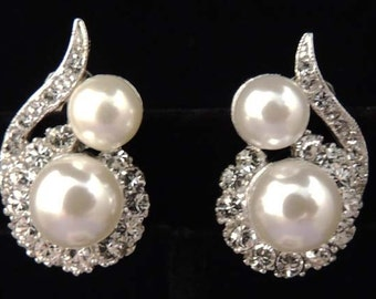 Vintage MARVELLA Pearl Earrings / Pearl and Rhinestone Earrings / Wedding Earrings / Wedding Jewelry / Designer Signed