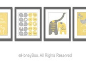 Set of 4 art prints, poster, typography prints, illustration, Gray white yellow quote