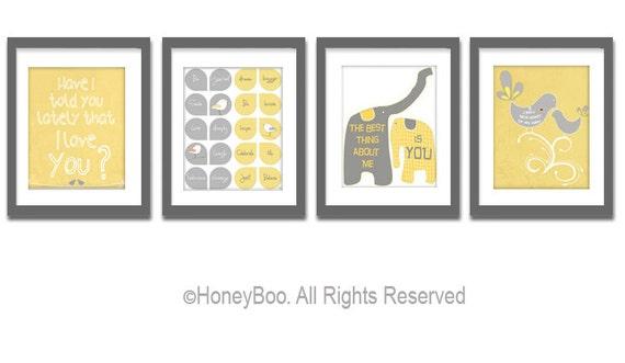 Set of 4 art prints, poster, typography prints, illustration, Gray white yellow quote