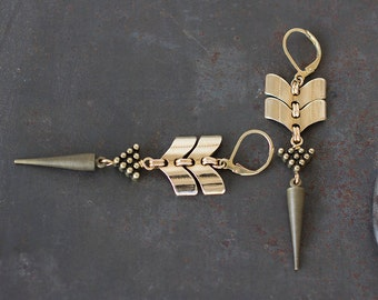 Smoke and Dagger Spike Earrings, Silver or Brass Chevron Drop Earrings by Prairieoats