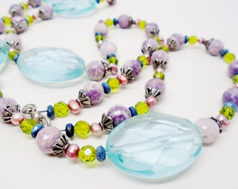 Vtg Freshwater Pearls Swarovski Faceted Art Glass Choker Amethyst Agate Sterling Silver Peridot Gemstones Stunning Necklace Statement