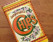 large Carmichael's Chips bright colored kitchen storage tin vintage