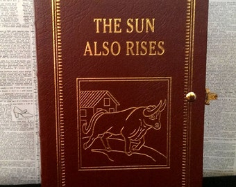 Book Clutch The Sun Also Rises by Ernest Hemingway Leather Bound Edition Literary Book Clutch