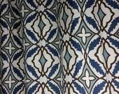 Pair of designer curtain panels drapes, eden cadet blue, brown, natural