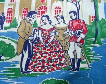 RARE * Vintage Novelty Feedsack Floursack Cotton Quilting Fabric ****** Gone with the Wind ***** 36 x 48