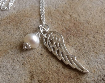 Sterling Silver Angel Wing and Pearl Necklace