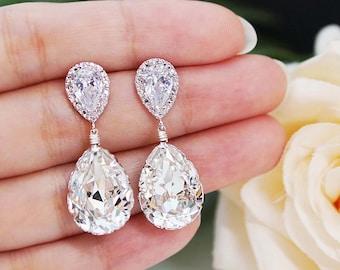 Wedding Jewelry Bridal Earrings Bridesmaid Earrings Dangle Earrings Swarovski Crystal Tear drop Earrings Bridesmaid Gift (E-B-0001)