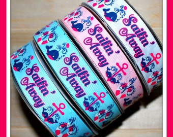 New 1, 2, 3, 4 or 5 yard 7/8 Sailin away Nautical Whale Sailor on Grosgrain Ribbon sail water boat anchor sea fish white blue shocking pink