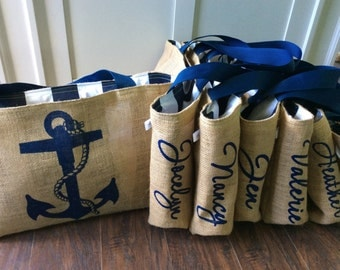 Personalized Bridesmaids Gift - Custom Nautical Anchor Burlap Market Tote Bags - Handmade