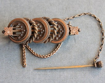 Ornate Victorian Etruscan Granulated Brooch with Safety Pin