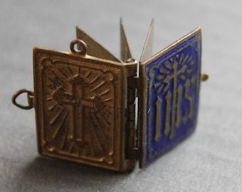 Antique French Enamel Religious Book Locket Pendant / Victorian Blue Enamel Locket / IHS