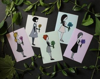 Wildflowers, illustration prints, tulips, daisies, crocus, hydrangea, lilies, nature art, garden decor, floral print, nursery art prints
