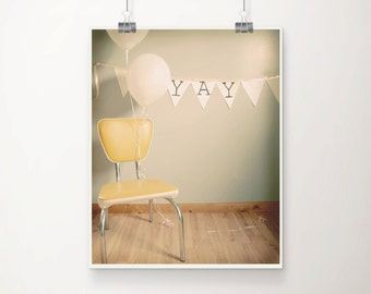 Modest Fine Art Print--Birthday Party Balloons Yay Vintage Yellow Chair Cheerful Photograph Wholesale