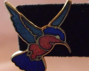 80s Cloisonne Hummingbird Pierced Earrings