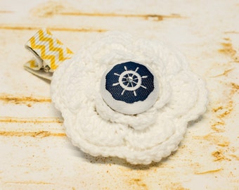 Nautical Crochet Flower Hair Clip Navy Blue White Mustard Yellow Steering Wheel, Rhinestone Little Toddler Girl Fabric Button First Birthday