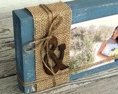 Rustic Wood Picture Display, Wood Block Photo Display, Rustic Ampersand, And Sign, Wedding Centerpiece, Shabby Burlap Decor, Custom Color