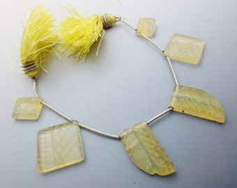 Yellow Fluorite Carved Gemstone Designer Briolettes