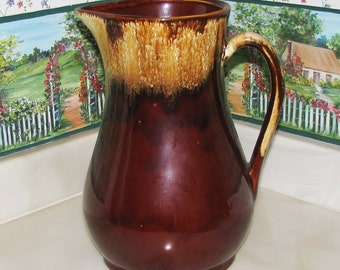 """Large beautiful antique RRP pitcher with  """"drip"""" glaze"""