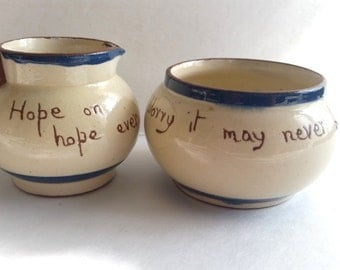 Vintage Cream and Sugar set, Hope on hope ever. Handmade Ceramic decoration piece . Brown Beige Navy blue inspirational quote don't worry