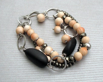 Chic Sterling Silver Beach Stone Multi Strand Bracelet, Gray and Peach Beaded Boho Bracelet, Pyrite and Vintage Angel Skin Coral Beads OOAK