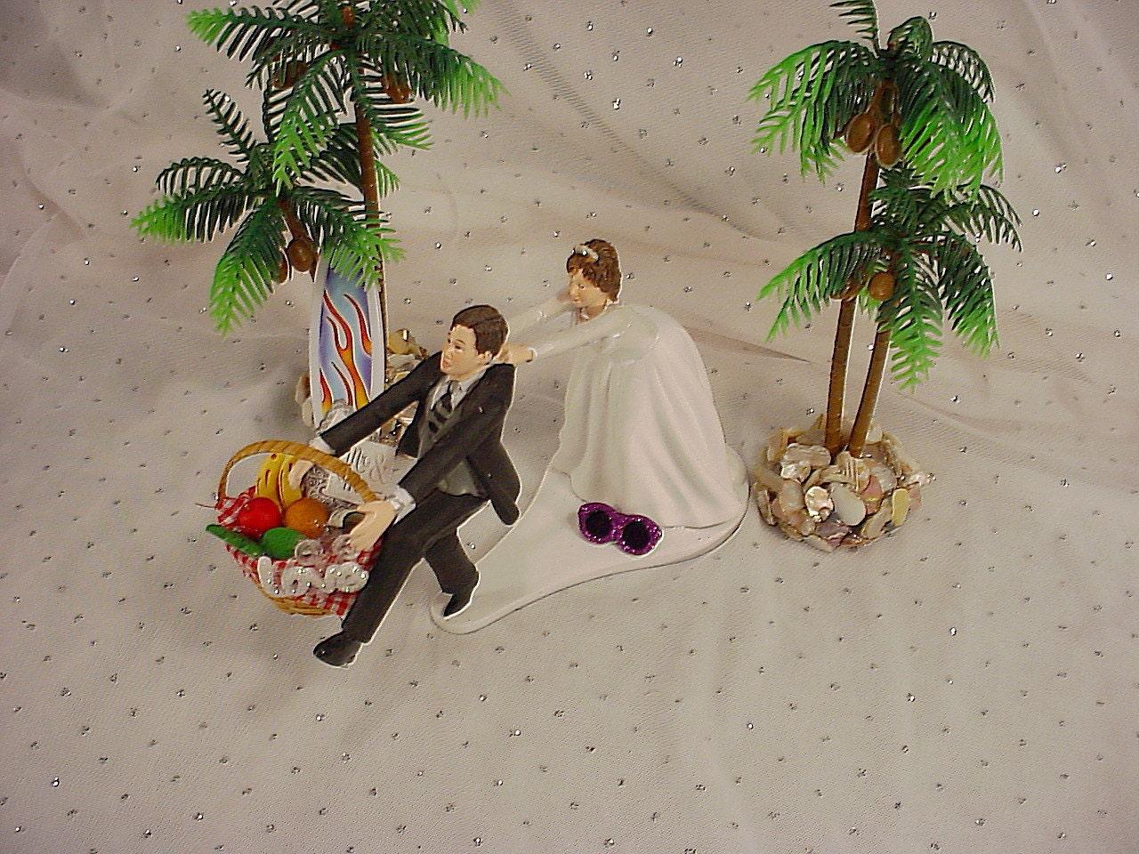 Surfboard Couple Surfing Surfer Groom Wedding Cake Topper Mr