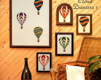 Cloud Dancers 1 Colorful Hot Air Balloons Gondolas Chevrons Stripes Swirls Squares Counted Cross Stitch Embroidery Craft Pattern Leaflet