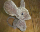 "Vintage Flocked Mouse with Big Ears 5 1/2"" Tall"