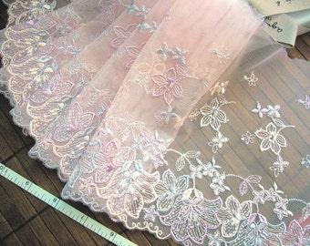 Lace trim, Embroidered lace, Pink lace, Wedding lace, Tulle lace, Net lace, Lolita lace,  2 yards RD156