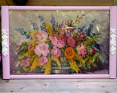 Vintage Wood Floral Tray with Handles Shabby Chic Upcycled