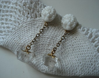 SALE Vintage Carved White Milk Glass and Crystal Cube Drop Gold Earrings Floral