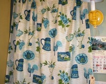 Pair of Vintage Kitschy Kitchen Pinch-Pleat Drapes Curtains