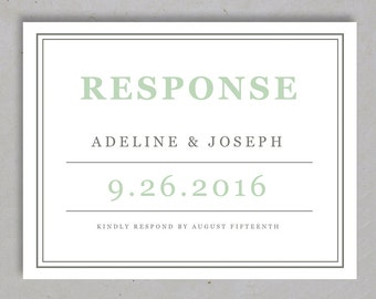 Add on -  Mint Type Printable RSVP Postcard