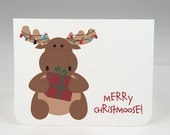 Holiday (Merry Christmoose) Moose with Gift Christmas A2 Folded Cards (set of 10)
