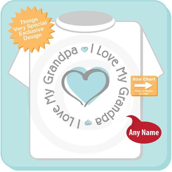 I Love My Grandpa Onesie or Shirt - Boy's I love my Grandad with Blue Heart Tee Shirt or Onesie 05112010a