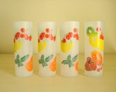 Mid-century drinking glasses, 4 frosted Tom Collins glassware, Federal Glass fruit design tumblers, like Gay Fad, 1950s kitchen entertaining