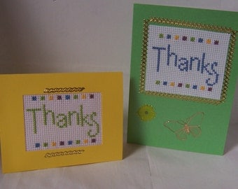 Two hand stitched Cross Stitch Cards. 'THANKS'. Greeting Card, Handmade Card, Notelet Cross Stitch Card, Needlecraft card, embroidery card.