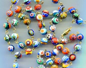 Murano Moretti Millefiori size 7/8mm Venetian Art Glass Beads, Wired, MB8W & Thong Milli B4109*