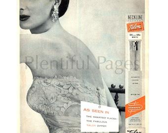 1956 Talon Zipper Vintage Ad, Retro Ad, 1950's Fashion, 1950's Evening Gown, Sewing, 1950's Lady, Retro Fashion, B&W Photo, Great to Frame.