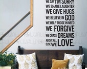 House Rules Quote - In this house we do -  Removable Wall Decal Wall Sticker Words