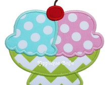 624 Ice Cream Bowl Machine Embroidery Applique Design